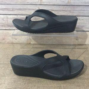 Crocs Black Wedge Slide sz 9
